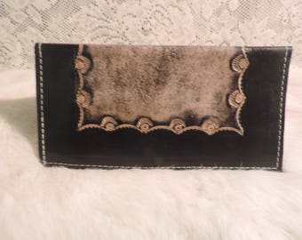 Handmade Checkbook Wallet Hand tooled