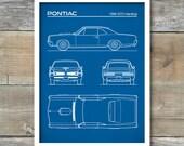 Auto Art, Patent Prints, Car Art, 1966 Pontiac GTO Blueprint, GTO Hardtop Poster, Pontiac GTO  Art, P540