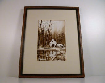 Terry Trottier Watercolor, Sepia Toned Well Executed Painting on Paper, Sugar Shack in Woods