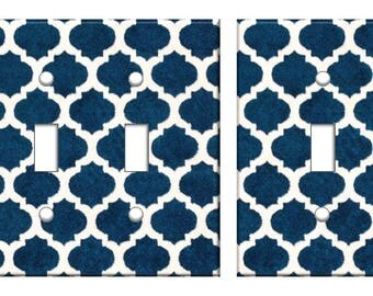Moroccan blue trellis pattern light switch plate cover // blue white lace // SAME DAY SHIPPING !!  **
