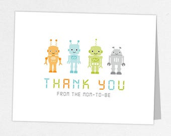 Robot Thank You Card, Baby Shower Thank You Card, Baby Thank You Card, Robot Shower, Orange, Blue, Green, Gray, Baby Robots, Gears, Baby Bot
