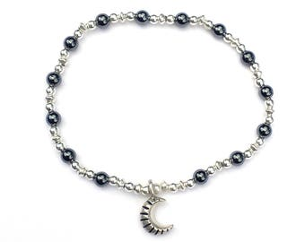 Sterling Silver and Hematite Elasticated Moon Bracelet