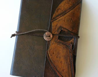 Custom Leather Spartan Skull Field Notes Journal Cover