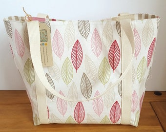 Canvas shoulder bag - women's fabric tote with pockets - ladies Summer handbag - wife gift idea - teacher tote