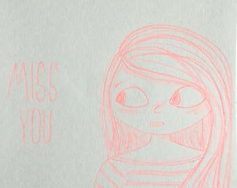 "Card ""Miss you"" made with neon red pencil - customizable"