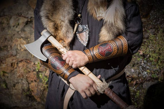 Viking Mjolnir Leather Bracers / Vambraces / Cowboy Cuffs - Norse - Celtic - Germanic - Slavic Trim