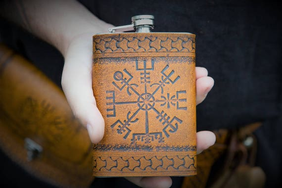 Viking Leather Flask - Vegvisir- Icelandic Compass 8oz Flask