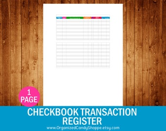 Printable Financial Transaction Register Full Page Instant
