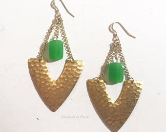 Harmony: Hammered, Brass, V-Shapes With Green, Dyed Jade Beads and Chain