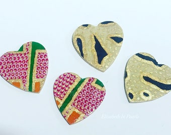 Heart to Heart: African Print /Kente Cloth Earrings On Wood, With Hand-Painted, Gold Detail