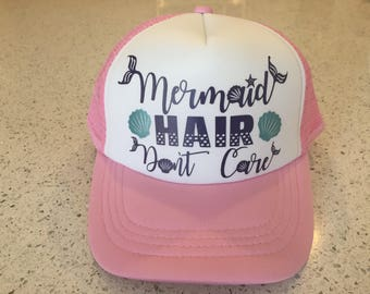 Kids Hat - Mermaid HAIR Dont Care - Snap Back Trucker - Pink White Girls Toddler Kids