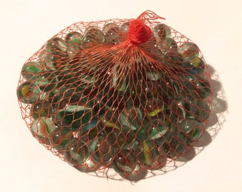 Vintage 1970s Big Bag of Green Glass Marbles in Mesh Net