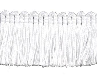 """5 Yard Value Pack of White, 1 1/4"""" Basic Trimbrush Fringe Style# 0150sb Color: White - A1 (4.5 M / 15 Ft)"""