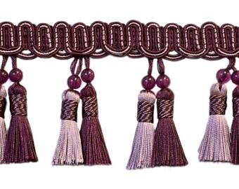 "Elegant 4"" Long Dusty Mauve, Dark Plum Beaded Tassel Fringe Style# Btfh4 - Luscious Lavenders 2927 (sold by The Yard)"