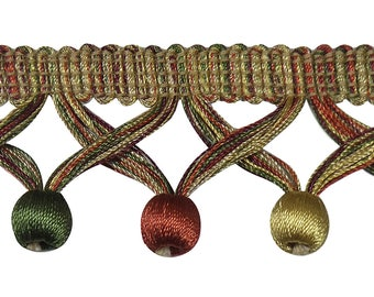 """Light Gold, Rust , Olive Green 1 3/4"""" Ball Fringe Style# Bbf0175 Clr 4770b Sold by The Yard"""