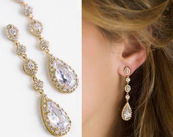 Gold Earrings Bridal Earrings Wedding Long drop Earrings Bridal jewelry Wedding Earrings Long Drop Earrings Jewelry for Bride E146-G
