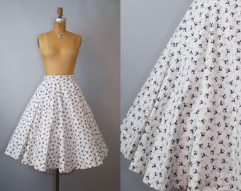 Rise and Shine Skirt / 50s Rooster Print Circle Skirt / 50s Circle Skirt / Vintage 1950s Circle Skirt