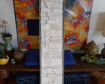 Mid Century Modern Wall Art, Brutalist Style relief Tile