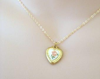 Dainty Rose Heart Locket, Limoge Rose Locket, Vintage Cameo Jewelry, Floral Rose Necklace, Feminine Jewelry