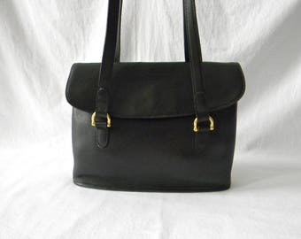 Vintage Black Leather Coach Equestrian Flap Shopper