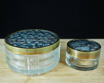 Vintage Art Deco Glass Cosmetic Vanity Jar
