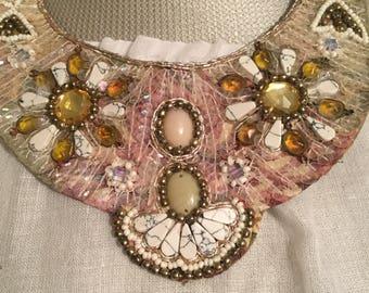 1970s Handmade Real Stone Glass Cermanic Beads Bib Adjustable Cord