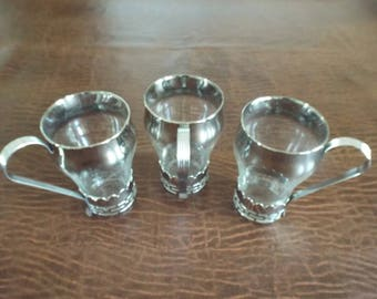 Set of 3 Glass vintage Dorothy Thorpe silver/platinum drinking glasses with removable silver cup holders Retro Mad Men