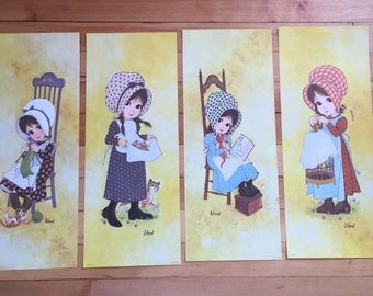 Vintage 1970s Holly Hobbie Prairie Girl Calico Ward Litho Lithographs Art Prints!