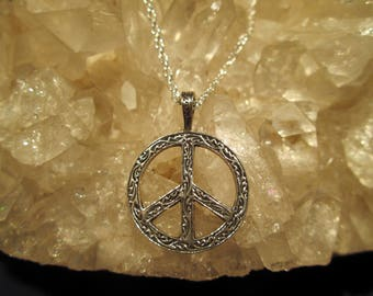 Patterned Peace Sign Necklace ~Sterling Silver~ Cast Design