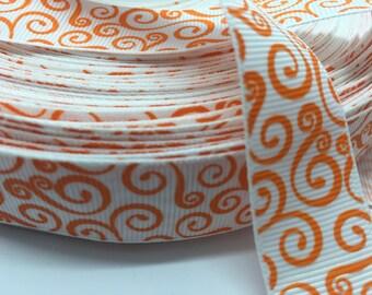 3 yards Halloween Autumn Fall Orange Swirl on White grosgrain ribbon