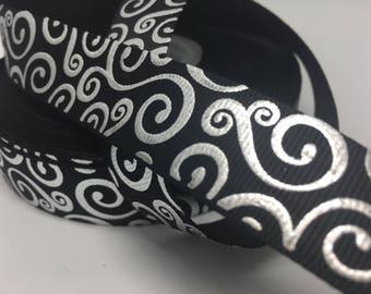 """7/8"""" Halloween silver foil swirl on black grosgrain"""
