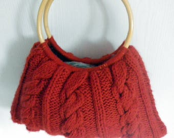 knit cabled bamboo handle bag