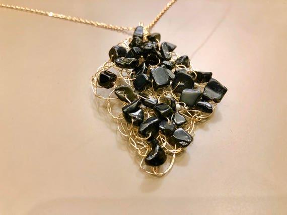 Handmade 14K gold-filled wire crochet pendant necklace with black jasper gemstones