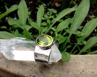 Peridot Ring 24 Carat Gold Sterling Silver Rhodium Plated