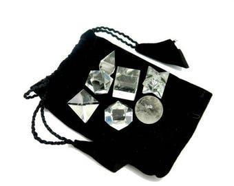 15% off Christmas in July Crystal Quartz Geometric Shape Set Bag - Reiki - Metaphysical - Sacred Geometry - Stone Shapes (RK142B4)