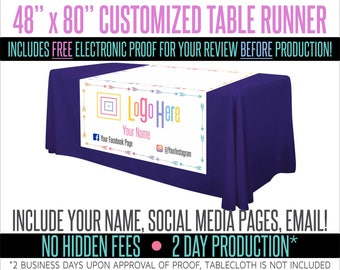 "Full Color Table Runner with Your Logo in a Arrow Style Border- 48"" x 80"""
