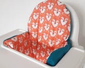 Antilop IKEA highchair cushion cover - cushion cover only - fox and petrol blue fabric cushion cover - gender neutral - MADE to ORDER
