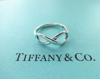 SALE!! Authentic Tiffany & Co. Sterling Silver Infinity Figure 8 Band Ring, Size 4.5