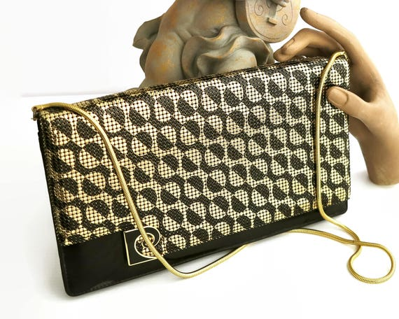 Vintage Pierre Cardin mesh handbag, gold and black mesh on both sides in classic Pierre Cardin pattern, gold snake chain handle, 1970s / 80s