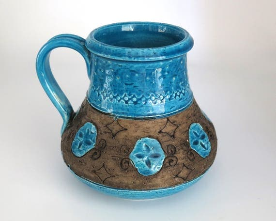 Turquoise pottery jug, handmade and heavy, glazed turquoise and unglazed brown, earthy, ethnic, pitcher vase, utensils holder
