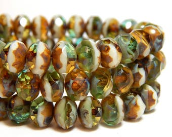 8x6mm Earthy Mix Picasso Czech Beads, Nature Beads, Earthy Beads, Green Beads, Brown and Green Beads, Rustic Beads, Glass Beads, T-72D