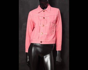 EVISU Vintage 1990s Fuchsia Pink Denim Jacket