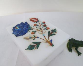 Vintage Marble Box with Inlaid Floral Design Pietra Dura Stash Box Inlaid Box Rectangular Box Jewelry Box Floral Box Small Floral box