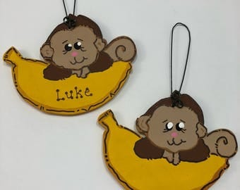 Monkey and Banana Personalized Christmas Tree Ornament Wood