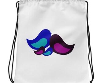 Customizable bird family Drawstring bag