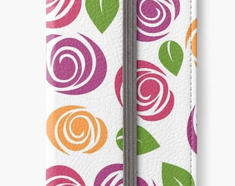 Folio Wallet Case for iPhone 8 Plus, iPhone 8, iPhone 7, iPhone 6 Plus, iPhone SE, iPhone 6, iPhone 5s - Pink & Orange Floral Design Case