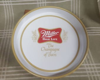 Vintage Miller High Life Beer Advertising Tray. Champagne of Beers