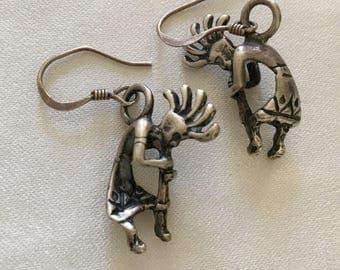 Sterling Silver Kokopelli Hook Earrings. Wonderful Detail.