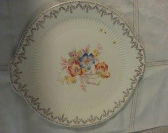 """Floral 22 K Gold Trimmed Royal 11"""" Ivory Royal China Inc of Sebring Ohio Plate Serving Platter"""