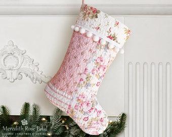 Pink Christmas Stocking, Pink Stocking, Pink Christmas, Girl Christmas Stocking, Girl Stocking, Quilted Christmas Stocking, Girl Quilt